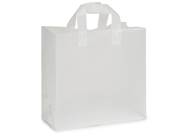 """Clear Frosted Plastic Gift Bags, Market 12x6x12"""", 25 Pack, 3 mil"""