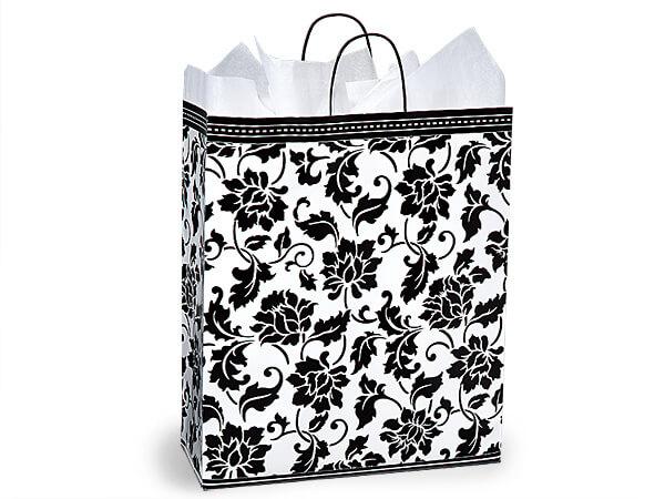 """Queen Floral Brocade Paper Bags 25 Pk 16x6x19"""""""