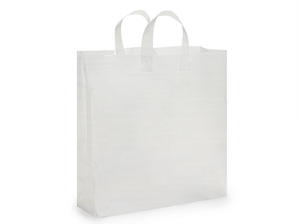"Clear Frosted Plastic Gift Bags, Queen 16x6x16"", 25 Pack"