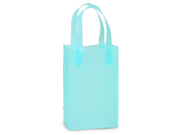 """Aqua Blue Plastic Gift Bags, Rose 5x3x8"""", 25 Pack, 3 mil"""