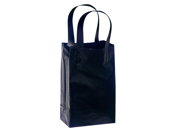 "Black Plastic Gift Bags, Rose 5x3x8"", 25 Pack"