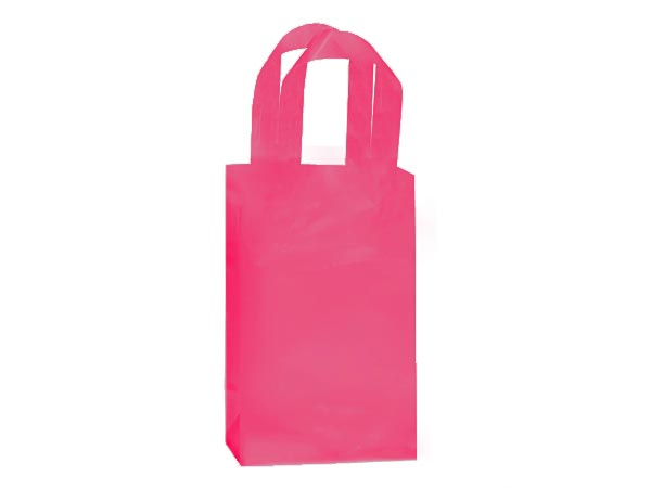"Blazing Pink Plastic Gift Bags, Rose 5x3x8"", 25 Pack, 3 mil"