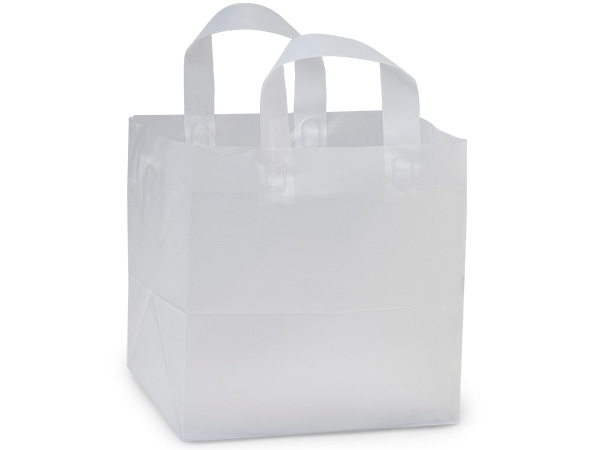 """Clear Frosted Plastic Gift Bags, Regal 13x8x16"""", 25 Pack, 3 mil"""