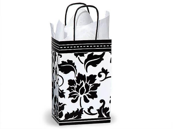 """Rose Floral Brocade Paper Bags 25 Pk 5-1/4x3-1/2x8-1/4"""""""