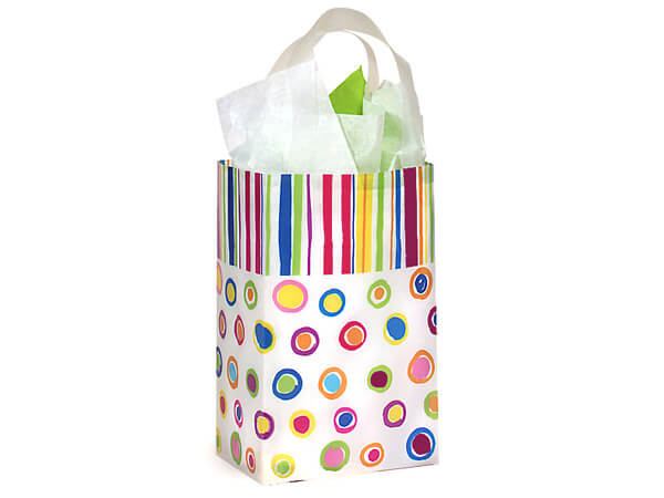 "Rainbow Spots Plastic Gift Bags, Rose 5.25x3.25x8.5"", 25 Pack"