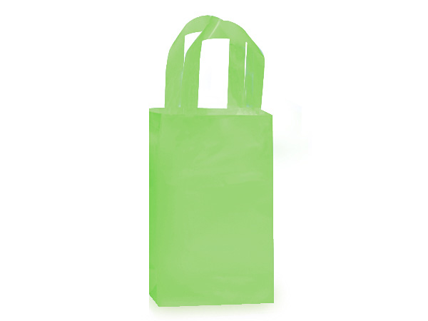 "Key Lime Plastic Gift Bags, Rose 5x3x8"", 25 Pack, 3 mil"