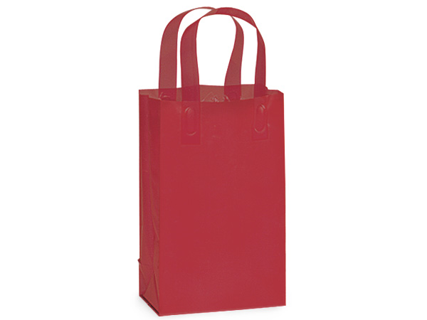 "Red Plastic Gift Bags, Rose 5x3x8"", 25 Pack"