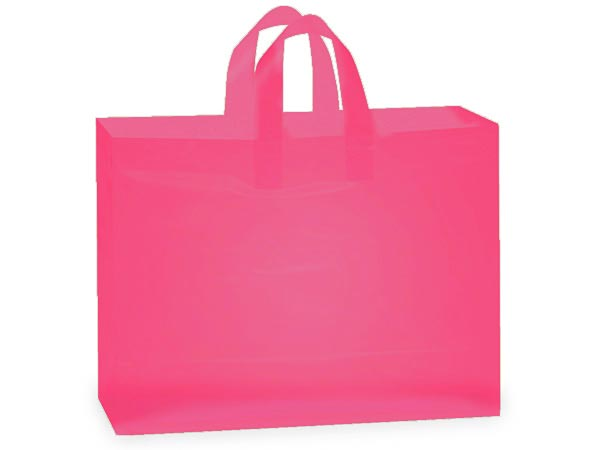 "Blazing Pink Plastic Gift Bags, Vogue 16x5x12"", 25 Pack"