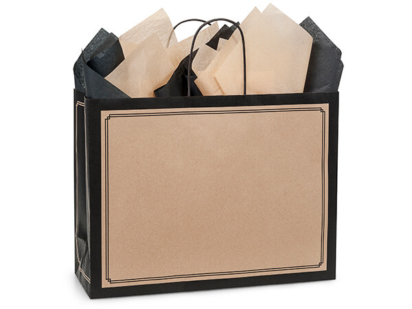 Vogue Black & Kraft Duets Bags 25 Pk 16x6x12-1/2