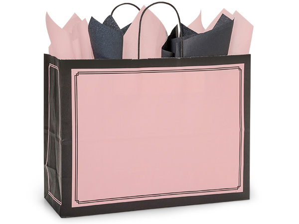 """Pink & Black Duets Shopping Bags Vogue 16x6x12.5"""", 25 Pack"""