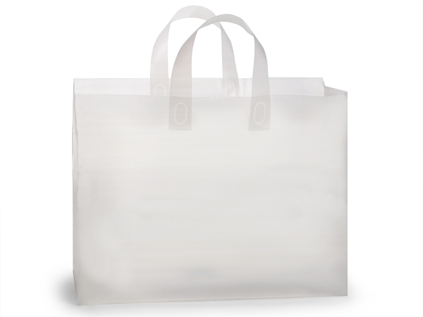 "Clear Frosted Plastic Gift Bags, Vogue 16x5x12"", 25 Pack"