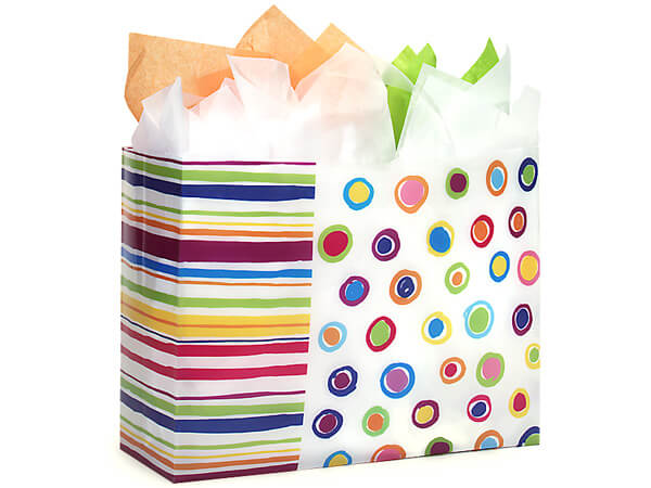 "Rainbow Spots Plastic Gift Bags, Vogue 16x6x12"", 25 Pack, 3 mil"