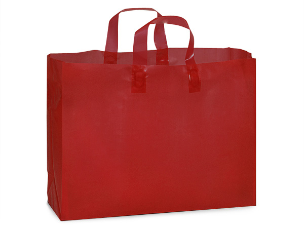 "Red Plastic Gift Bags, Vogue 16x5x12"", 25 Pack, 3 mil"