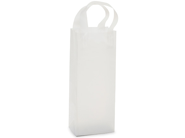 "Clear Frosted Plastic Gift Bags, Wine 5x3x13"", 25 Pack"