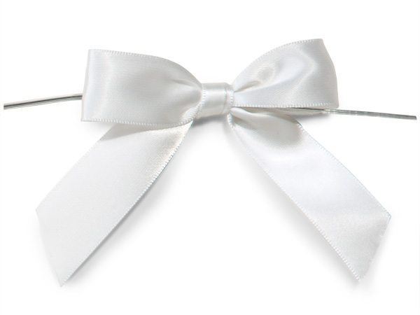 "3"" White Pre-Tied Satin Gift Bows with Twist Ties, 12 pack"