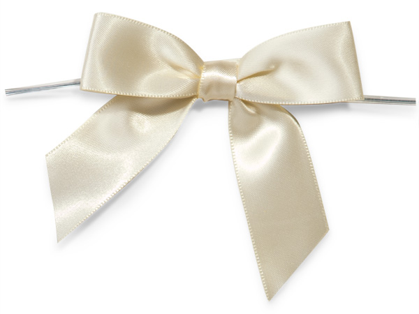 """3"""" Ivory Pre-Tied Satin Gift Bows with Twist Ties, 12 pack"""