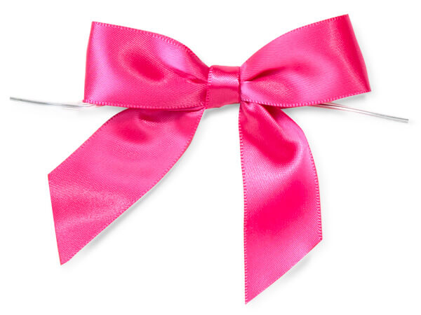 Hot Pink Satin Pre-tied Bows