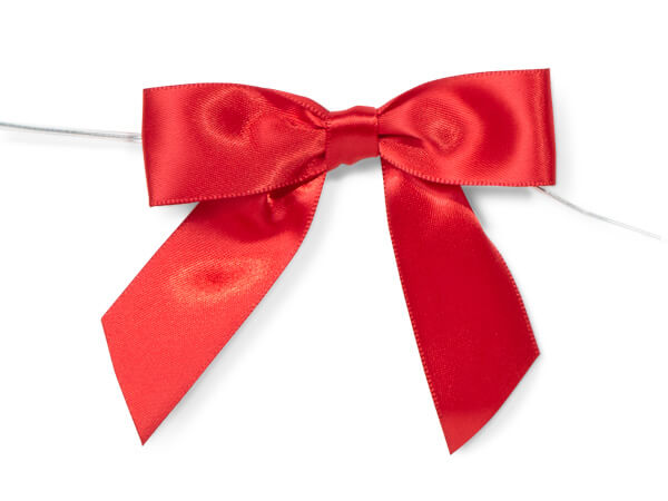 "3"" Red Pre-Tied Satin Gift Bows with Twist Ties, 12 pack"