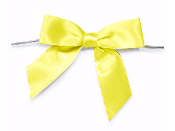 "3"" Yellow Pre-Tied Satin Gift Bows with Twist Ties, 12 pack"