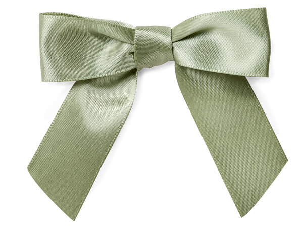 """Spring Moss 3"""" Pre-tied Satin Bows With 5"""" Twist Ties~ 7/8"""" Ribbon"""