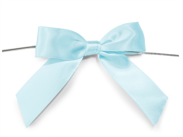 """Light Blue 3"""" Pre-tied Satin Bows With 5"""" Twist Ties~ 7/8"""" Ribbon"""
