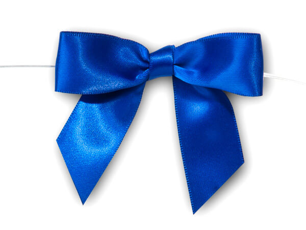 """Royal Blue 3"""" Pre-tied Satin Bows With 5"""" Twist Ties~ 7/8"""" Ribbon"""