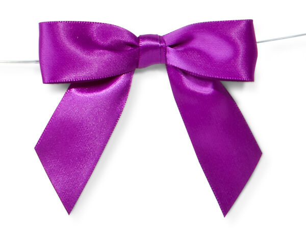 """3"""" Purple Pre-Tied Satin Gift Bows with Twist Ties, 12 pack"""
