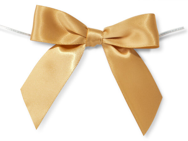 "Gold 3"" Pre-tied Satin Bows With 5"" Twist Ties~ 7/8"" Ribbon"