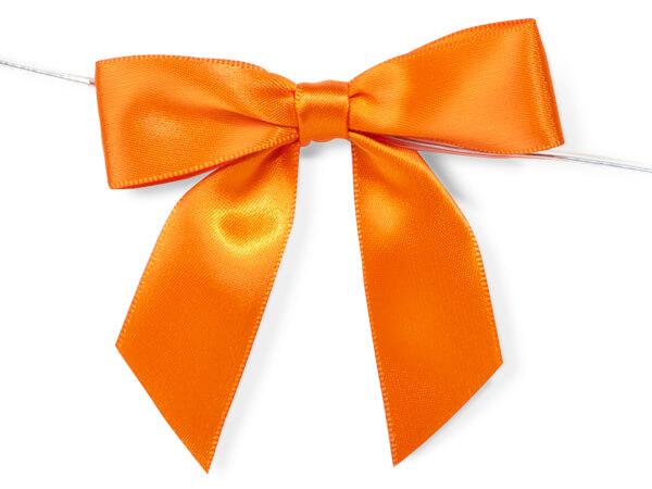 Orange Satin Pre-tied Bow