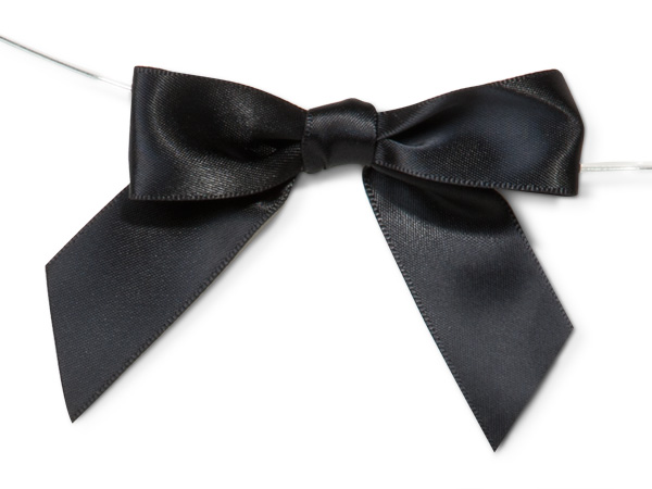 Black Pre-tied Striped Bow