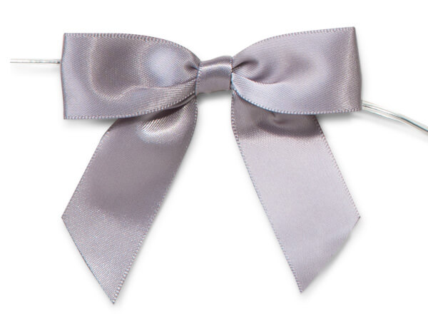 "Silver 3"" Pre-tied Satin Bows With 5"" Twist Ties~ 7/8"" Ribbon"