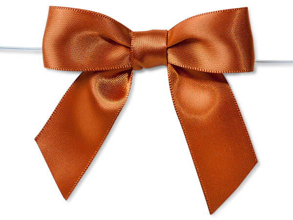 """3"""" Copper Pre-Tied Satin Gift Bows with Twist Ties, 12 pack"""