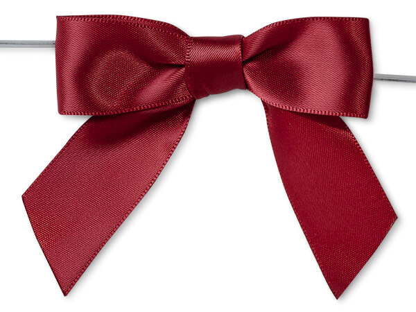 "Scarlet 3"" Pre-tied Satin Bows With 5"" Twist Ties~ 7/8"" Ribbon"