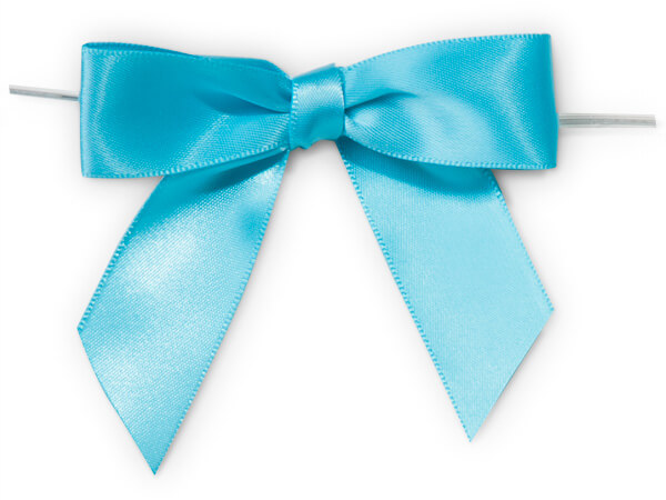 "3"" Turquoise Pre-Tied Satin Gift Bows with Twist Ties, 12 pack"