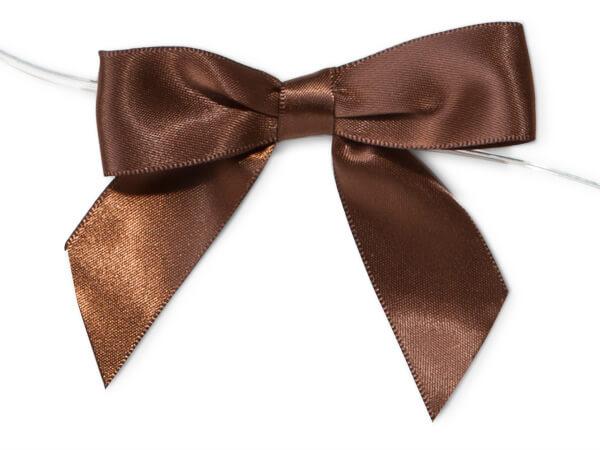 "Chocolate 3"" Pre-tied Satin Bows With 5"" Twist Ties~ 7/8"" Ribbon"