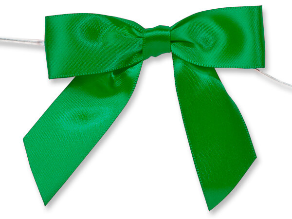 "3"" Kelly Green Pre-Tied Satin Gift Bows with Twist Ties, 12 pack"
