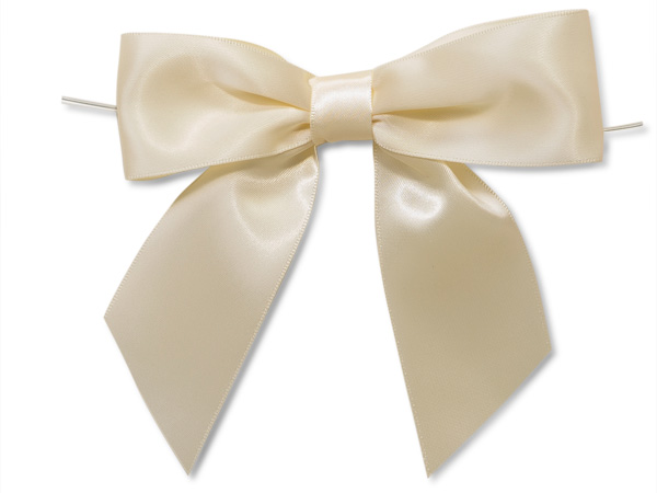 """5"""" Ivory Pre-Tied Satin Gift Bows with Twist Ties, 12 pack"""