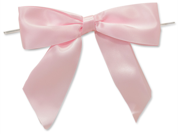 "Pink 5"" Pre-tied Satin Bows With 6"" Twist Ties~ 1-1/2"" Ribbon"
