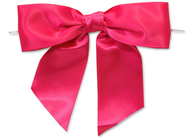 Hot Pink Satin Pre-tied Bow