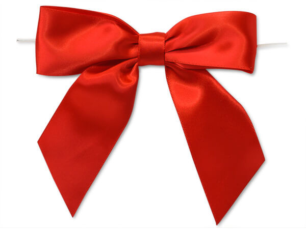Red Satin Pre-tied Bows