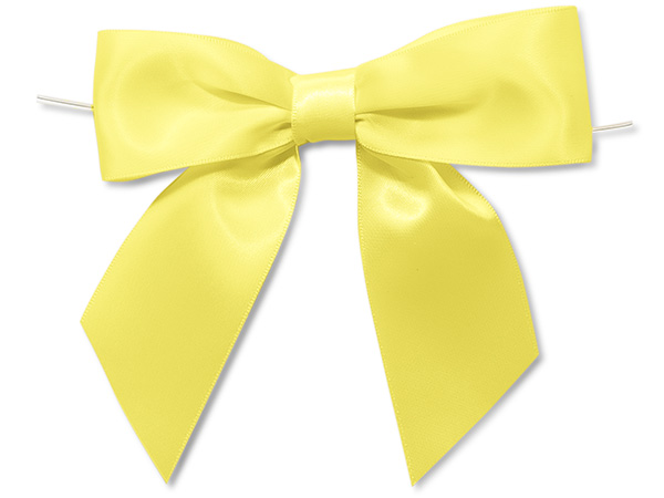 "Yellow 5"" Pre-tied Satin Bows With 6"" Twist Ties~ 1-1/2"" Ribbon"