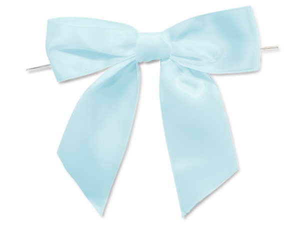 """5"""" Light Baby Blue Pre-Tied Satin Gift Bows with Twist Ties, 12 pack"""