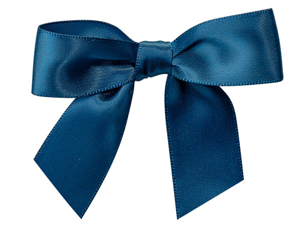 """5"""" Navy Blue Pre-Tied Satin Gift Bows with Twist Ties, 12 pack"""