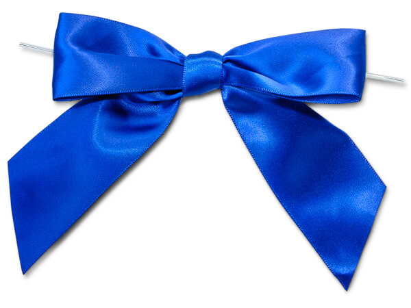 "Royal Blue 5"" Pre-tied Satin Bows With 6"" Twist Ties~ 1-1/2"" Ribbon"