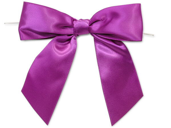 """5"""" Purple Pre-Tied Satin Gift Bows with Twist Ties, 12 pack"""