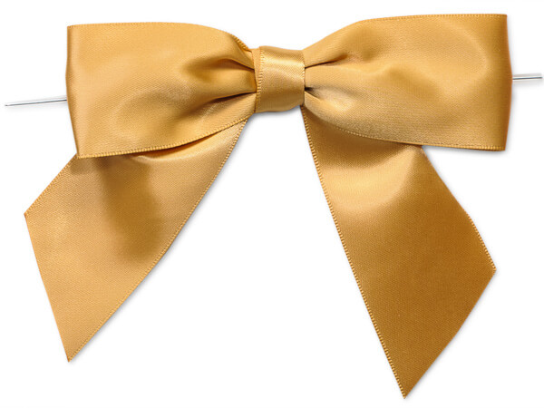 """Gold 5"""" Pre-tied Satin Bows With 6"""" Twist Ties~ 1-1/2"""" Ribbon"""