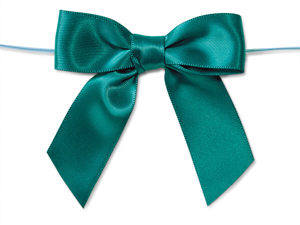 """5"""" Teal Pre-Tied Satin Gift Bows with Twist Ties, 12 pack"""