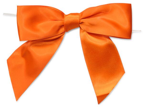 "5"" Orange Pre-Tied Satin Gift Bows with Twist Ties, 12 pack"