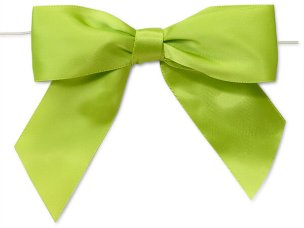 Lime Satin Pre-Tied Bows