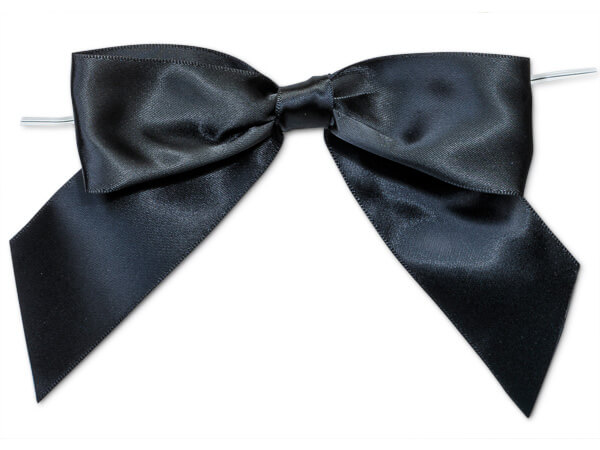 """5"""" Black  Pre-Tied Satin Gift Bows with Twist Ties, 12 pack"""